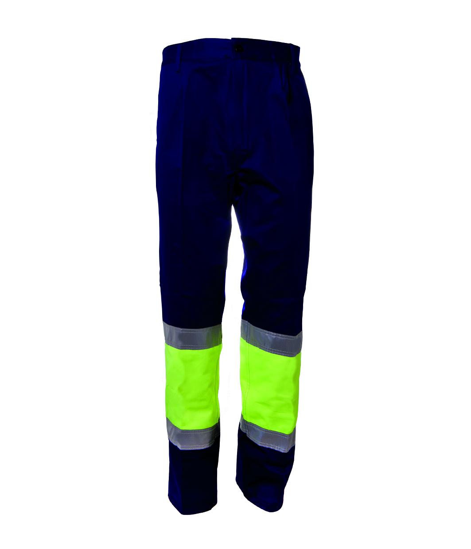 Pantalón combinado amarillo flúor 100 algodón alta visibilidad Image