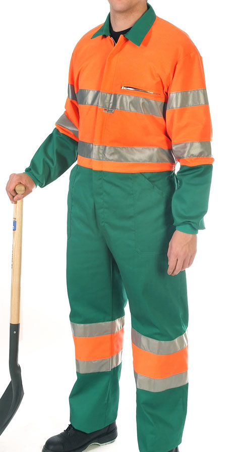 Hi-visibility two toned orange coverall Image