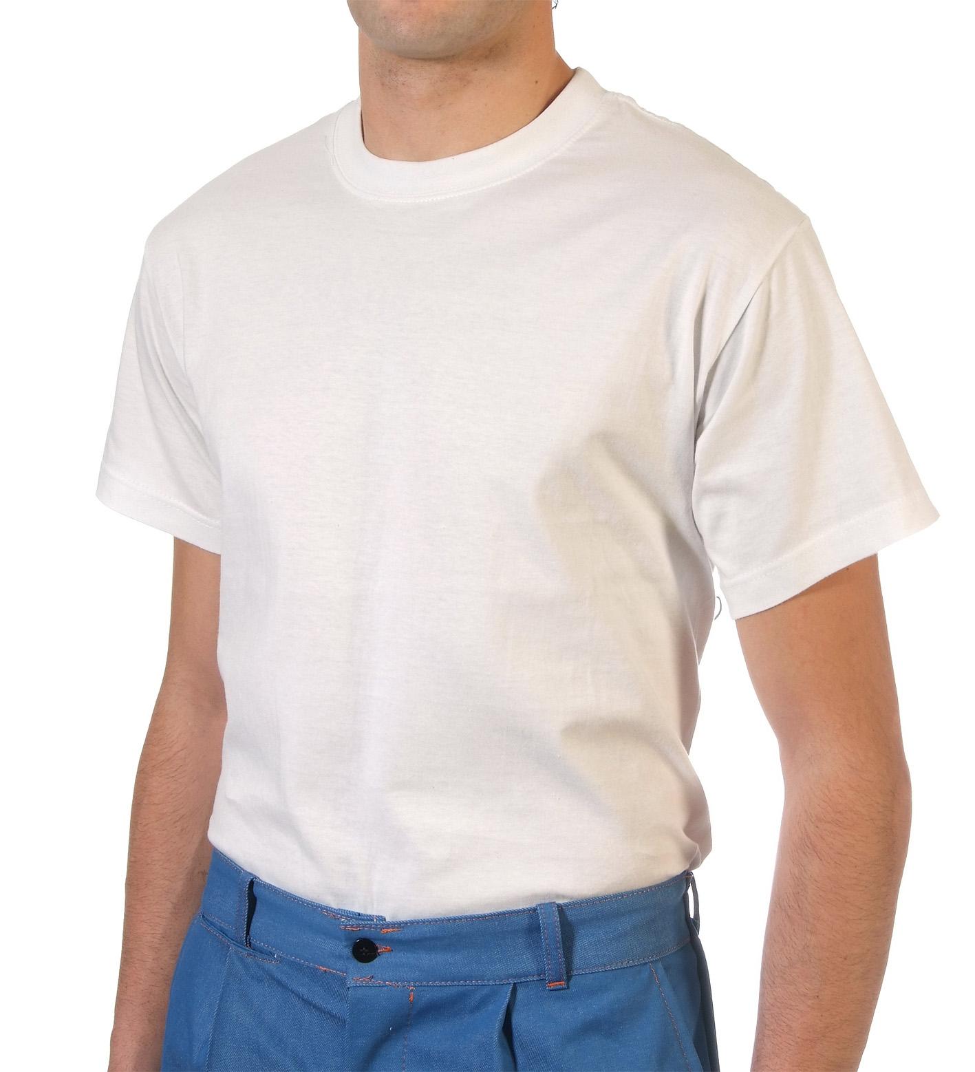 Short sleeve white cotton t-shirt Image